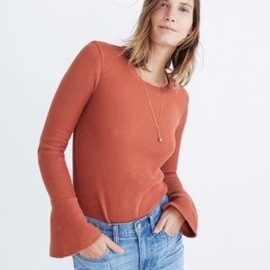 Madewell Ruffle Cuff Ribbed Top XXS Afterglow Red